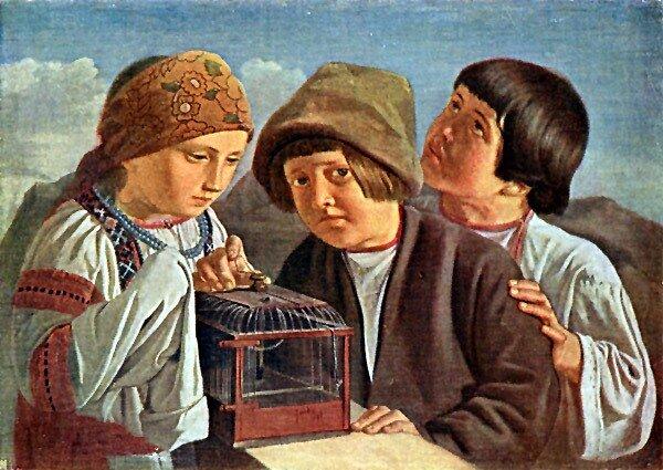 Группа детей. Неизвестный художник школы А. Г. Венецианова. Холст, масло. Инв. № 1022. утрачено в ГРМ.
