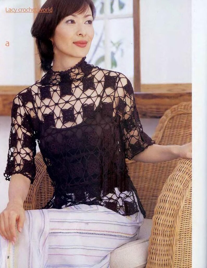 Пуловер-сетка с цветами(япония)