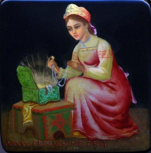 """Федоскинская миниатюра. Иллюстрация к сказке """"Малахитовая шкатулка"""""""