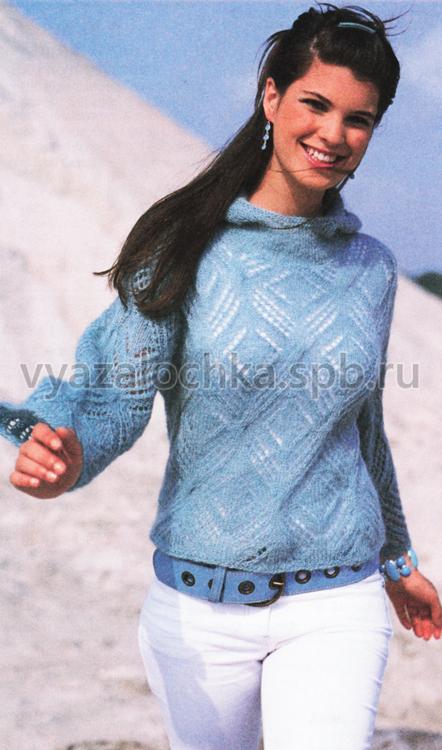 Ажурный пуловер из мохера,