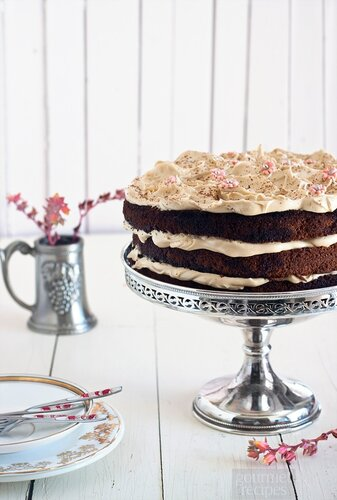 Chocolate cake with Kahlua frosting