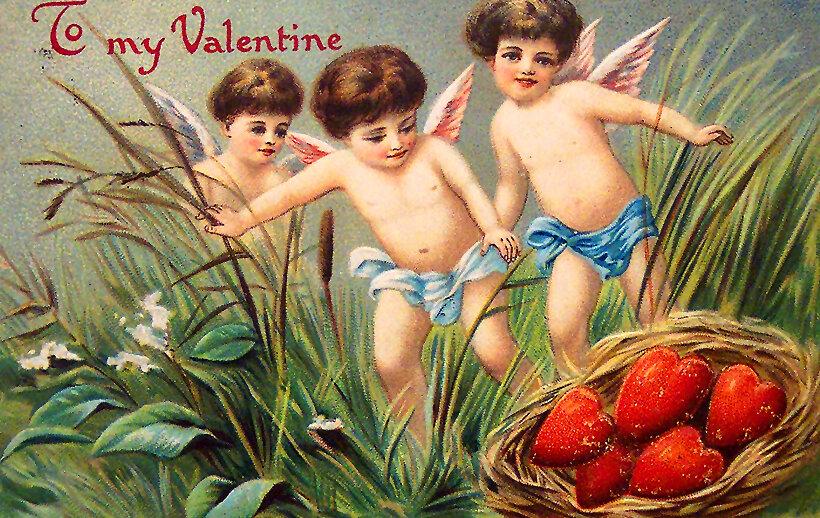 Винтажные открытки день влюбленных