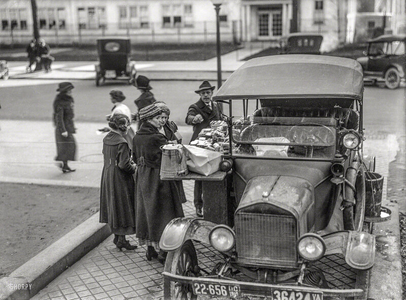 Washington, D.C., in 1919. Sandwich vendor. Another look at the Model T lunch wagon