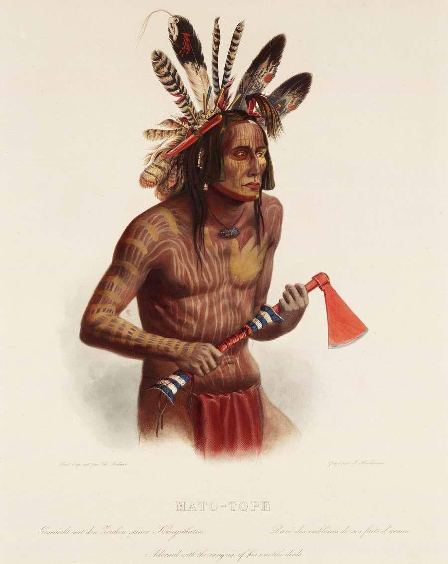 Индеец с боевым топором - томогавком - Karl Bodmer