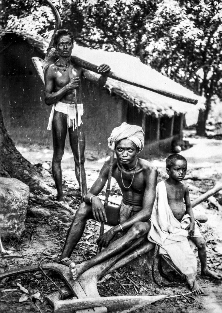 635. Серанго. Двое мужчин народности соро с ребенком и плугом