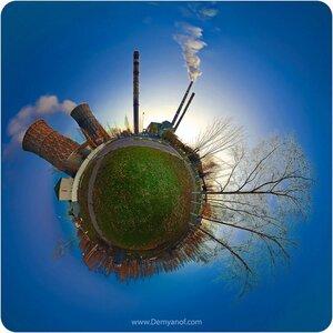Электричество coordinates, микропланета, панорама, Чебоксары, Тэц-2, город, ночь, завод, маленькие миры