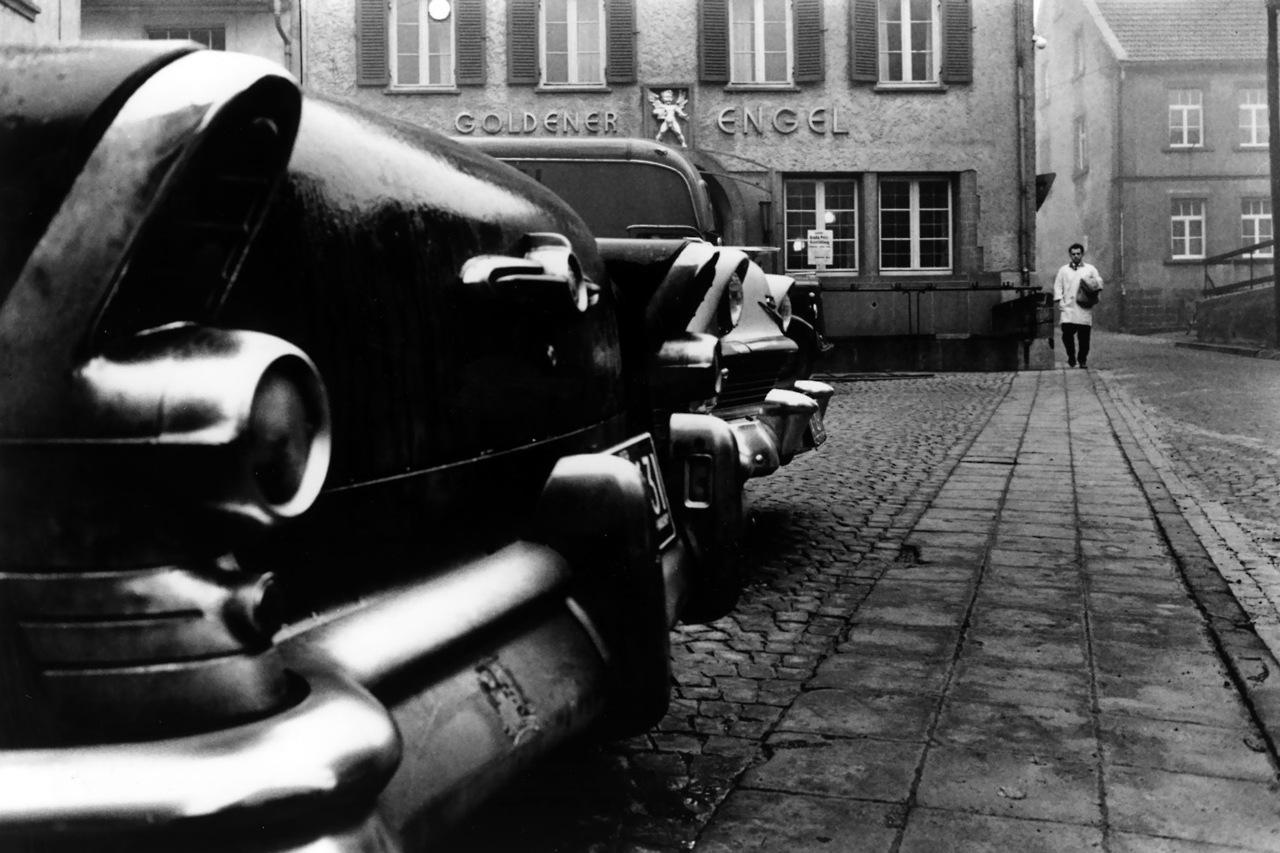 "1959 WEST GERMANY.1959.Sarre state. Town of Baumholder. 1959.The ""Goldener Engel"" (Golden Angel) was once an inn.Image envoyÈ ‡ Cristiana Giordano (Transaction : 632405033171406250)© Rene Burri / Magnum Photos"