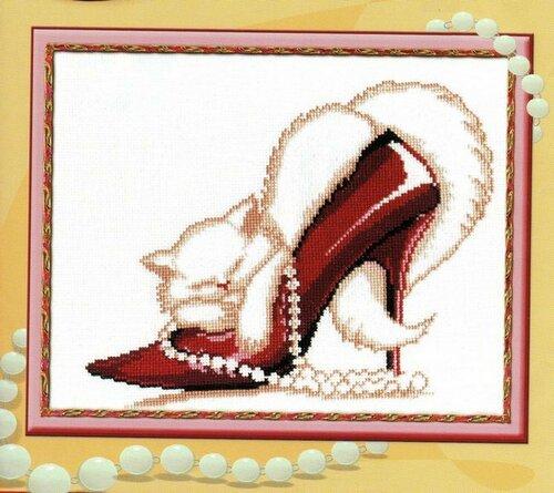 кошка в туфле вышивка.