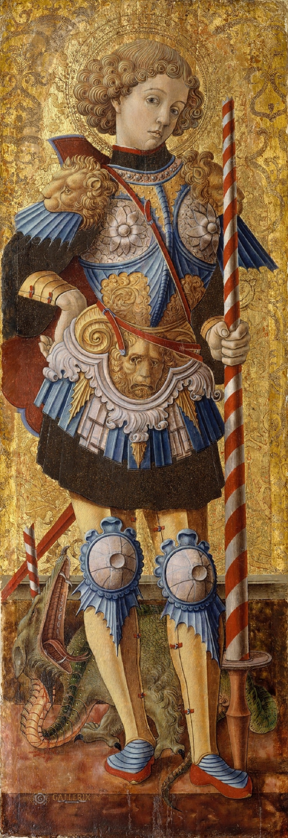 1472 CRIVELLI, Carlo St George 1472 Tempera on panel, 97 x 34 cm Metropolitan Museum of Art, New York.jpg