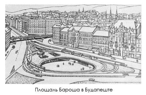 Площаль Бароша в Будапеште, рисунок с гравюры