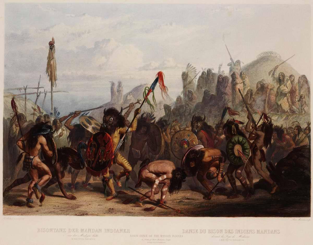 Танец бизонов индейцев из племени манданов - Karl Bodmer