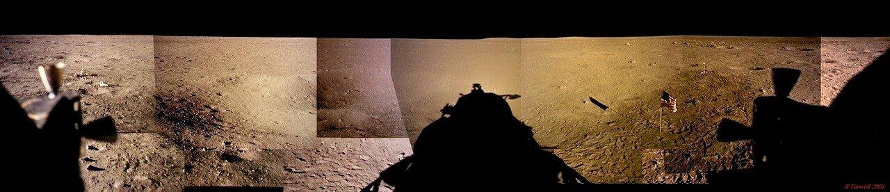 Первые 10 секунд «Орёл» поднимался строго вертикально. На снимке: Панорама, составленная из снимков, сделанных Армстронгом и Олдрином из лунного модуля после «прогулки»