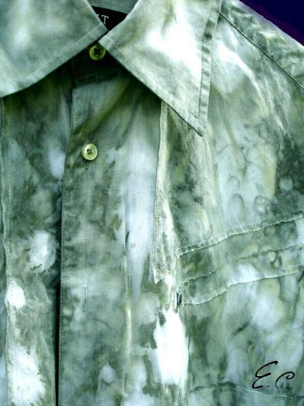 Холодный батик (batik), мужская рубашка «Белые Ночи», 100% ручная роспись