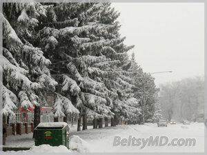 снегопад в Бельцах