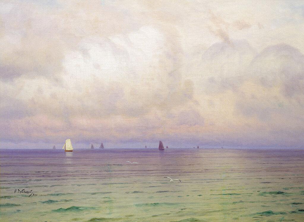 Море. Парусники. 1900. Холст, масло. 58х80 см.jpg
