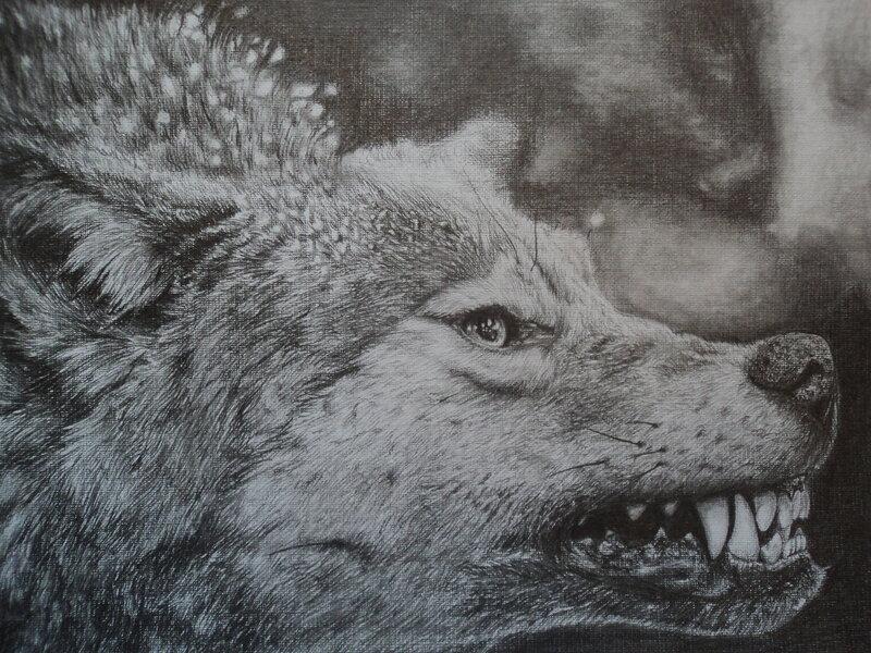 фото рисунки голография волчий оскал ткань оказывает
