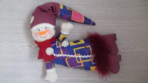 Снеговик улетает, снеговик, зима, мягкая игрушка, тильды