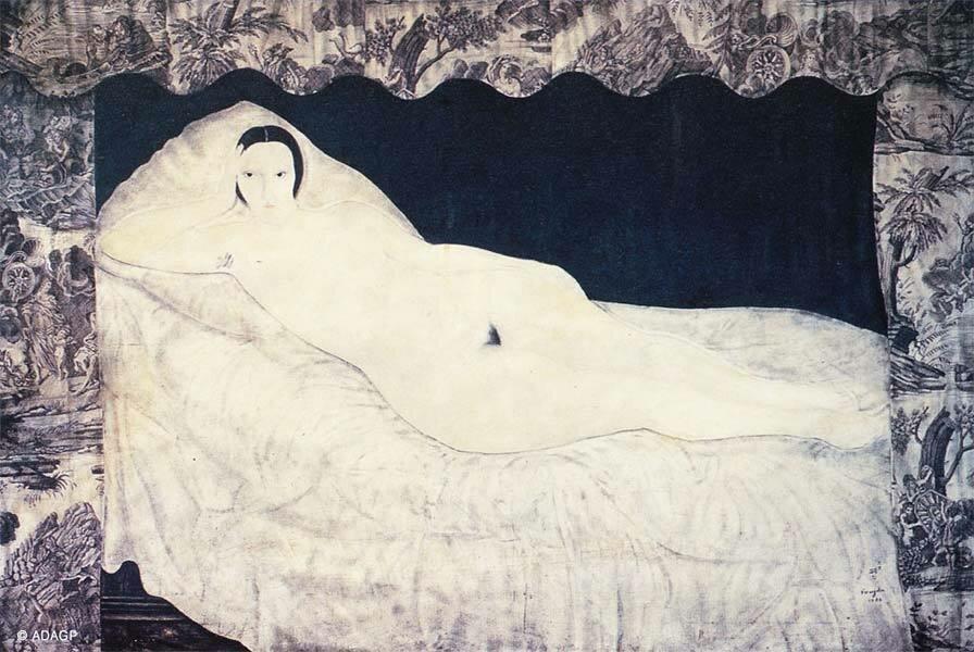 1922. Леонард (Цугухару) Фуджита. Лежащая обнаженная. Модель Кики с Монпарнаса
