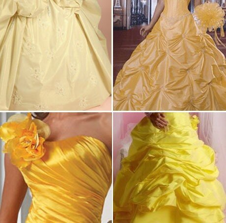 Выбираем желтое свадебное платье