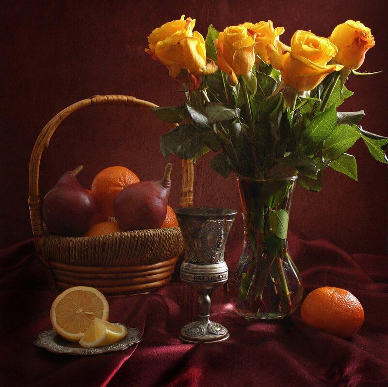 """Схема вышивки  """"Натюрморт с фруктами """": комментарии."""