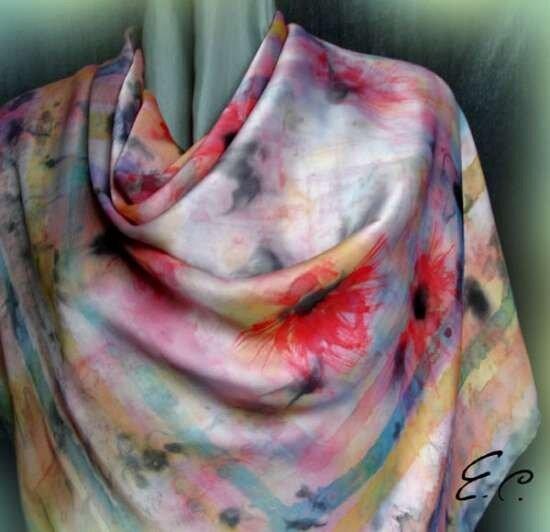 0 56c50 754a4129 XL Холодный батик от Елены Суровцевой, фото, платок «Маковое настроение», ручная роспись по шелку