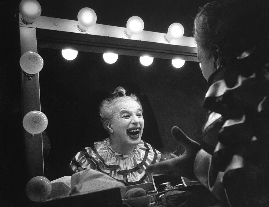 Charlie Chaplinas as clown  by W. Eugene Smith