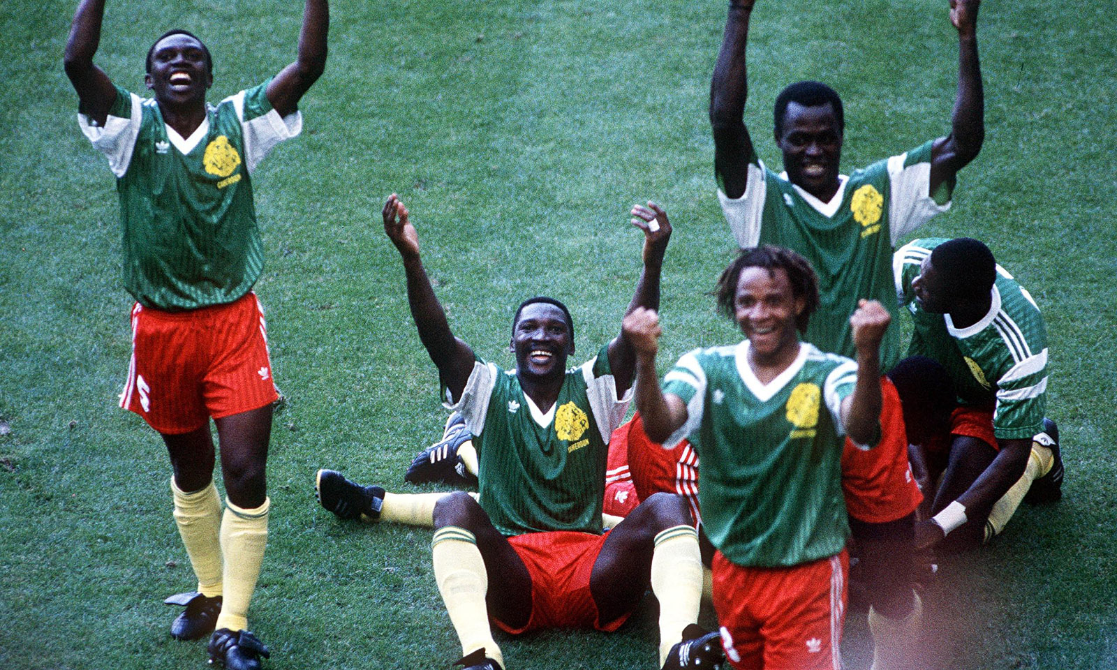 Cameroon players celebrate their goal in the win against Argentina at the 1990 World Cup