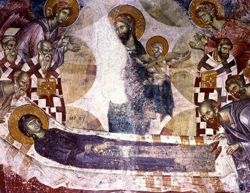 Успение Пресвятой Богородицы. Фреска монастыря Жича, Сербия. 1309 - 1316 годы. Фрагмент.