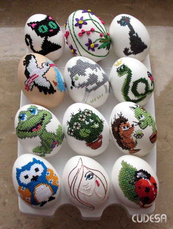 Вышивка к пасхе на яйце