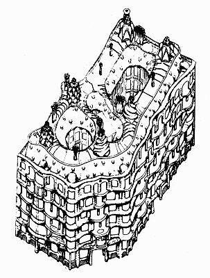 Каса мила, дом каменоломня, Антонио Гауди, аксонометрия