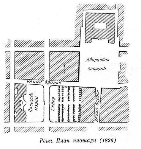 Главная площадь города Ренна, план