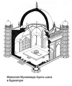 Мавзолей Мухаммеда Адиль-шаха в Биджапуре, чертеж, аксонометрия