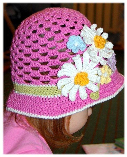 летние шапочки крючком схемы - Вязание.