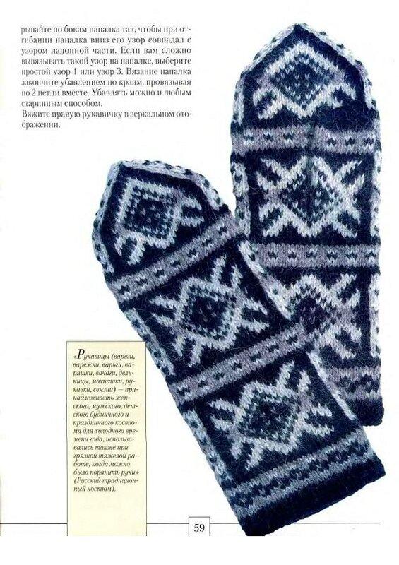 Схемы для вязания варежек с орнаментом.  Обсуждение на.