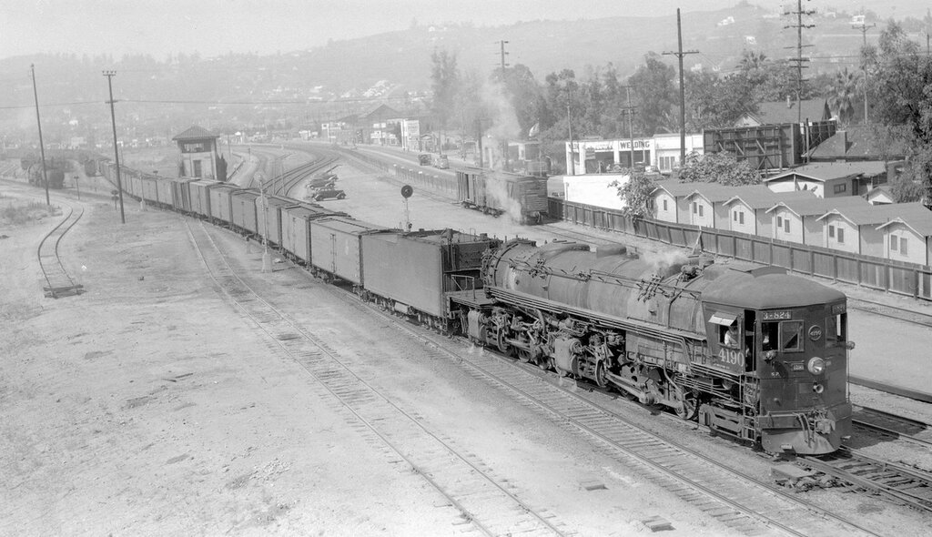 Southern Pacific train, engine number 4190, engine type 4-8-8-2. Third #824 eastbound freight train, Los Angeles, Cal., August 2, 1940.
