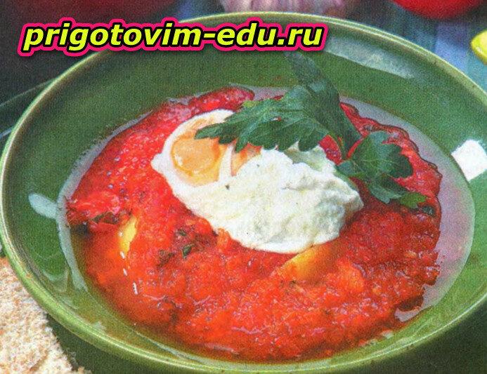 Густой суп с помидорами