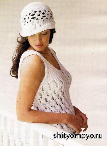 Бесплатные схемы вязания спицами + описание: белая летняя маечка