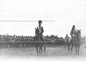 Командир полка генерал-майор свиты великий князь Дмитрий Константинович на параде в честь 250-летия Конно-гренадерского полка  .