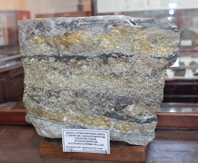 Кварц-турмалиновая жила с пиритом, халькопиритом, блёклой рудой, арсенопиритом и сульфосолями