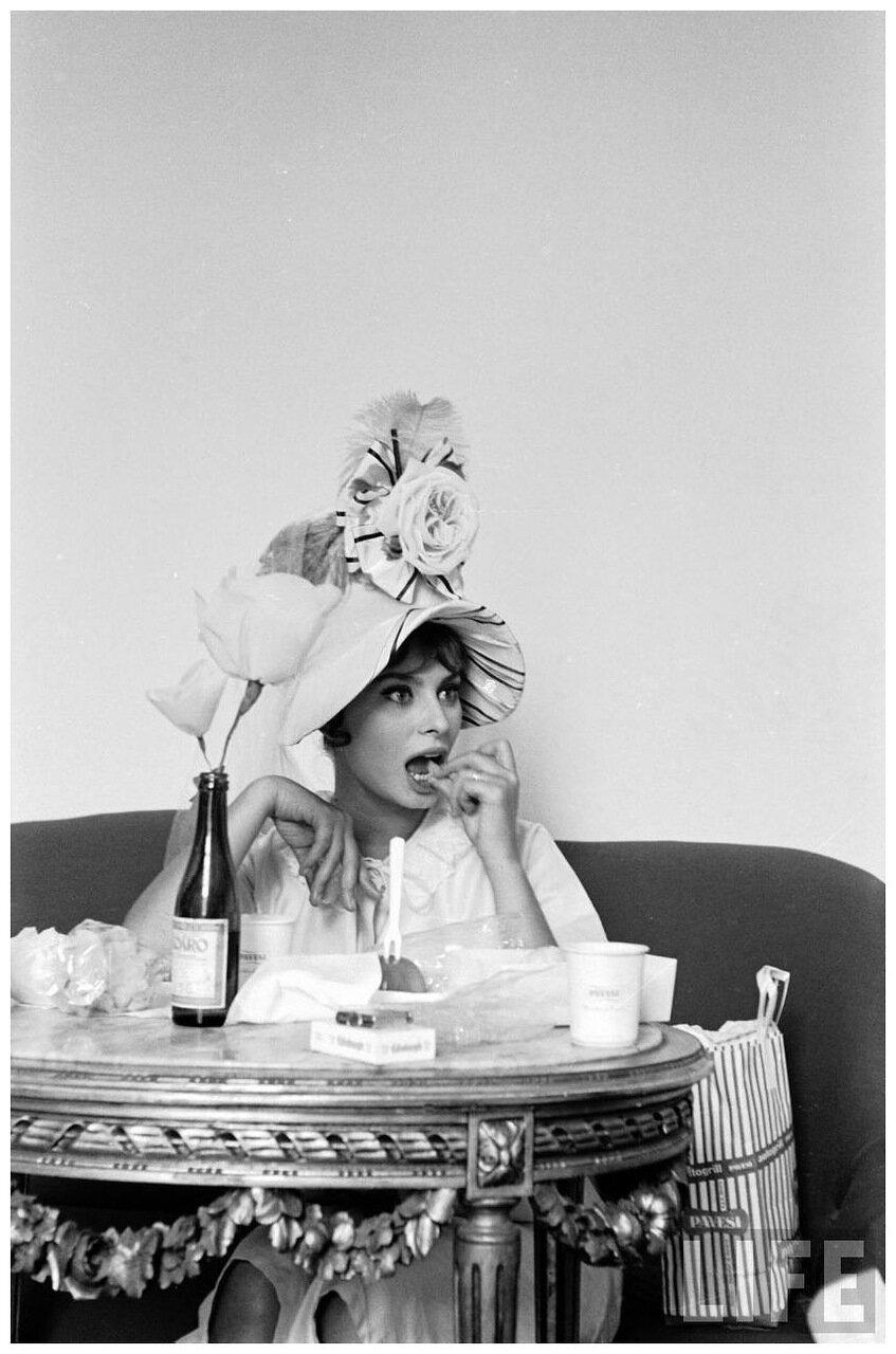 1961. Софи Лорен на съемках в Неаполе