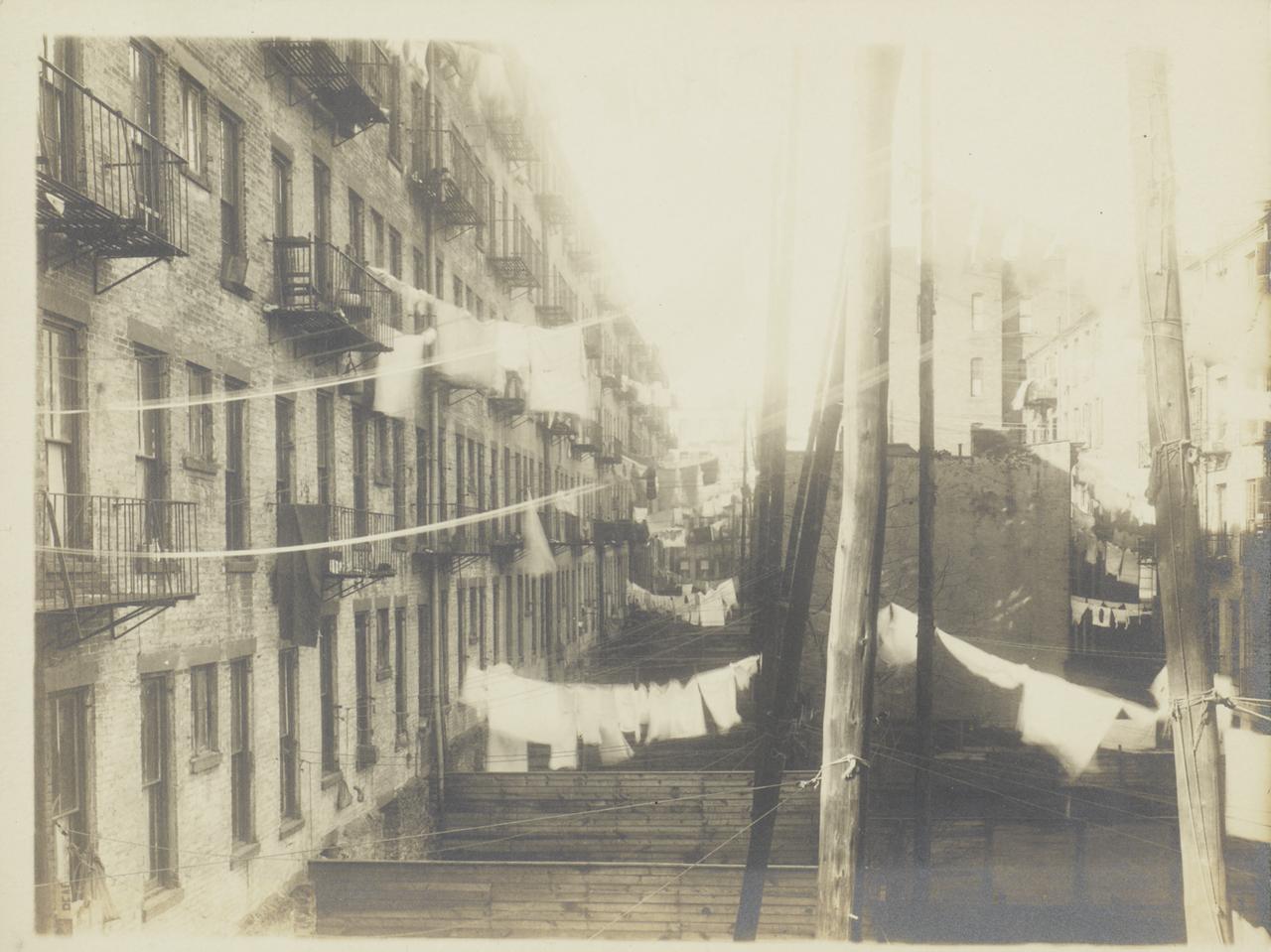 Бельевые веревки над деревянными заборами. 1917