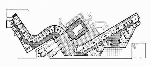 Общежитие Массачусетсского института (Baker Dormitory), архитектор Алвар Аалто, план 1-ого этажа