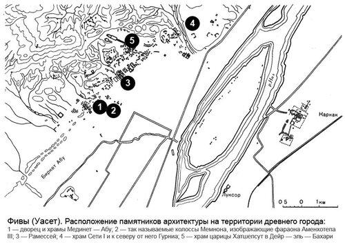 Фивы (Уасет), расположение основных комлексов