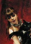Bambina con il Gatto Nero in Braccio 1885