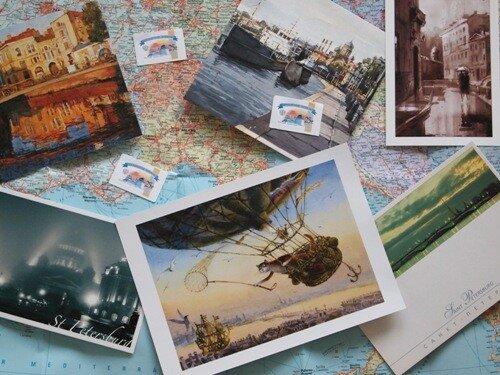 Посылать открытки в другую страну, для