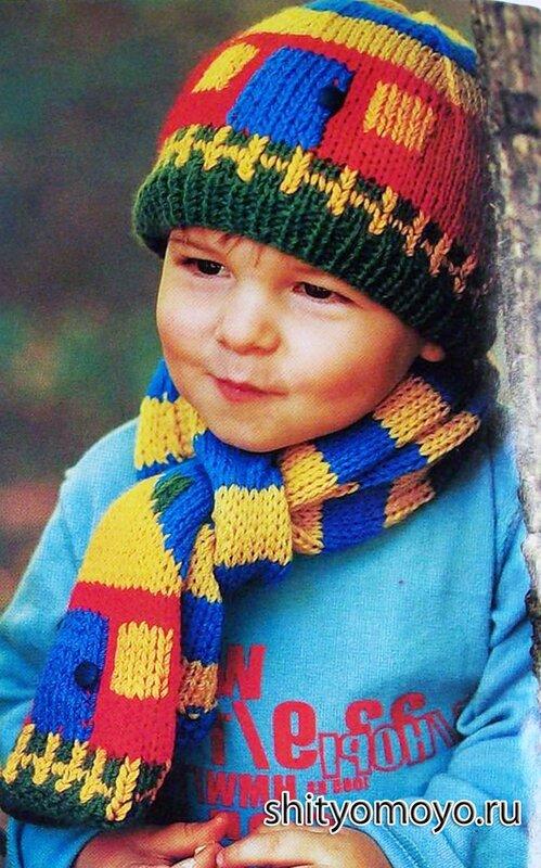 Шапочка и шарфик вязание спицами для мальчиков