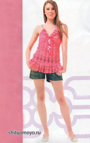 Ярко-розовая летняя туника, связанная крючком