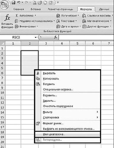 Рис. 2.123. Контекстное меню диапазона данных. Пункт «Имя диапазона»