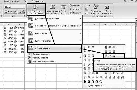 Как форматировать ячейки Excel с использованием набора значков?