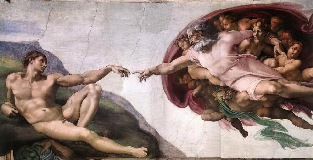 Микеланджело,  Сикстинская капелла--Создание Адама  Creation of Adam by Michelangelo